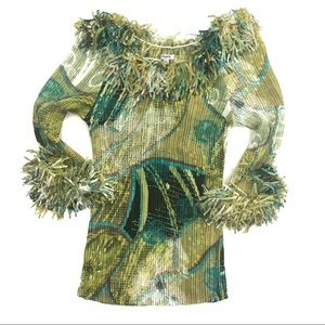 Agora Crinkle Top with Confetti Fringe